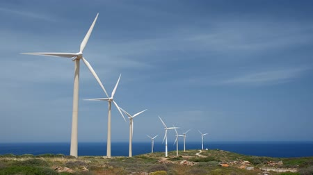 crete : Wind generator turbines. Crete island, Greece Stock Footage