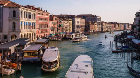 palazzo : Timelapse of Grand Canal with boats and gondolas on sunset, Venice, Italy