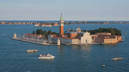 marco : Aerial view of Venice lagoon with boats and San Giorgio di Maggiore church. Venice, Italy