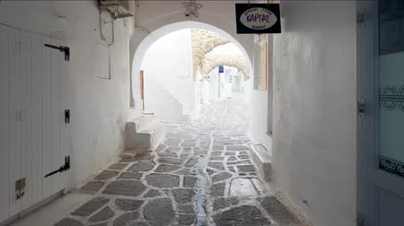 Walking in Naousa street on Paros island, Greece Stock Footage