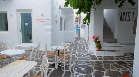 Walking in Naousa street on Paros island, Greece Стоковые видеозаписи