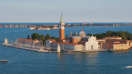 venezia : Aerial view of Venice lagoon with boats and San Giorgio di Maggiore church. Venice, Italy