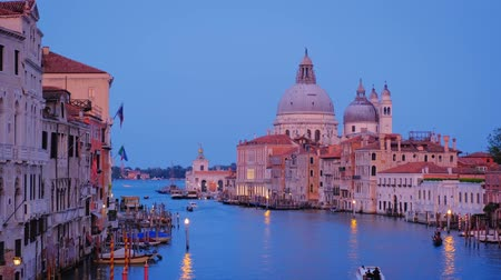 worship : View of Venice Grand Canal and Santa Maria della Salute church in the evening