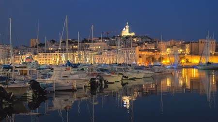デイム : Marseille Old Port in the night. Marseille, France 動画素材