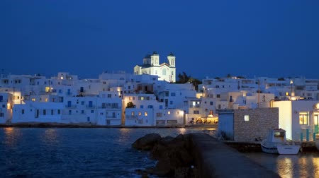 View of picturesque Naousa town an night. Paros island, Greece