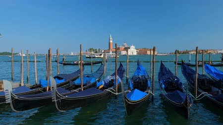 Gondolas in lagoon of Venice, Italy