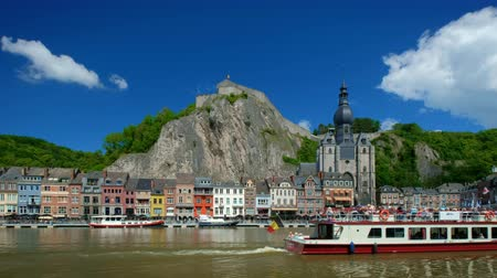 View of Dinant city over the Meuse river. Dinant, Belgium Стоковые видеозаписи