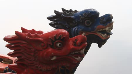 skins : head dragon boat, a unique culture of Vietnam Stock Footage