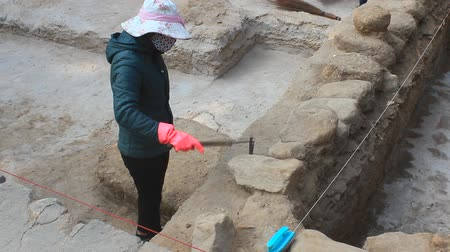 historical building : Haiduong, Vietnam, December, 24, 2014: Archaeological excavations at the Conson pagoda Stock Footage
