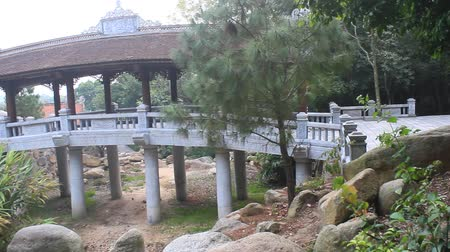 tapınaklar : bridge in the temple, Vietnam Stok Video