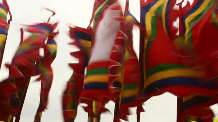dialect : flag in traditional festivals, asia Stock Footage