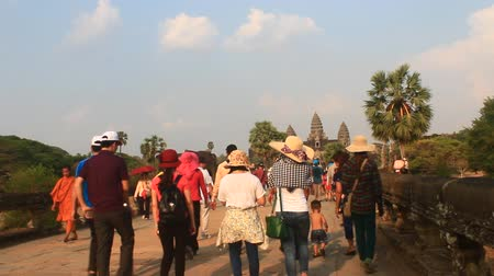 exiting : tourists visit Cambodia Angkor of Stock Footage