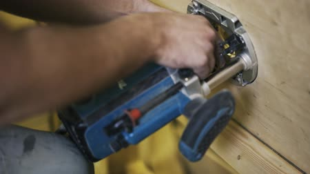 paneling : MAKITA Industrial Power Tool working with wood. Real time. Stock Footage