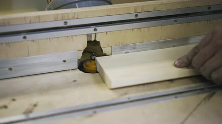 paneling : Working with wood using a special machine. Industrial tool. Real time shot.