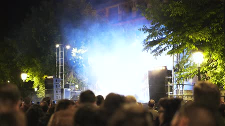 festa : Live performance of a rock group on a festival in Toledo, Spain. Night, open air, smoke and a unique atmosphere. Tilt up real time medium shot Stock Footage