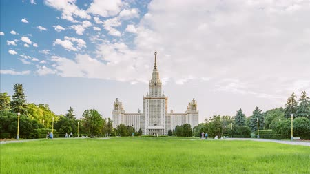 faculty : Beautiful timelapse of MSU Moscow State University at summer time. Stalin skyscraper. The concept of education in Russia. Campus.