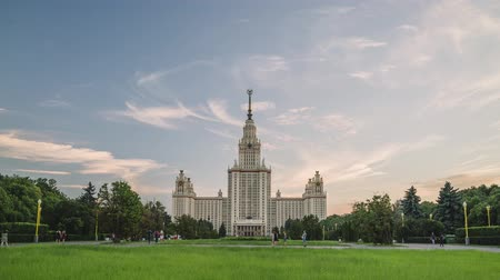 faculty : Beautiful sunset timelapse of MSU Moscow State University at summer time. Stalin skyscraper. The concept of education in Russia. Campus. Stock Footage