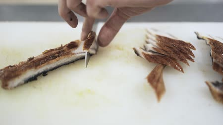 sushi bar : Hands of an unrecognizable cook cutting fish in slices in a modern restaurant. Making sushi. Japanese culture concept. Locked down real time close up shot