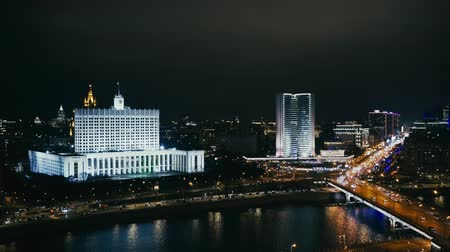 minister : The House of the Government of the Russian Federation. Cars and skyscrapers. Night Moscow. Locked down real time medium shot Stock Footage