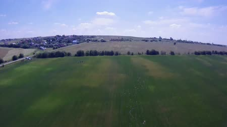 bird's eye view : Flying over the Countryside, Birds-eye. Extreme camera  is mounted on the wing RC glider. Stock Footage