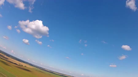 szybowiec : Glider Performs Aerobatic Maneuvers. Extreme camera  is mounted on the wing RC glider.