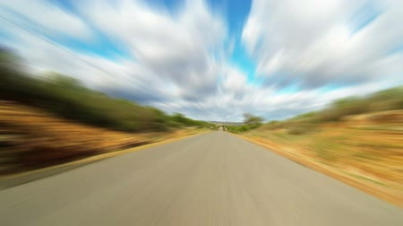 быстрый : Fast driving car on the road in green fields, blurred timelapse