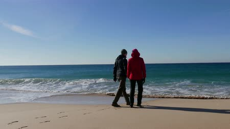 black yellow : Happy Middle-aged Couple Walking on Ocean Sandy Beach