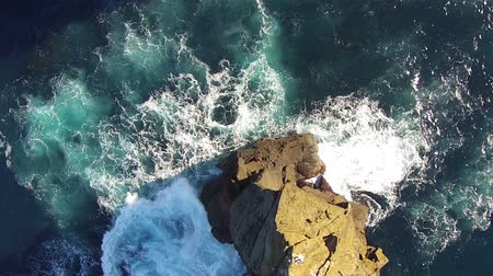 sao miguel : Flying over the High Cliffs and Ocean Waves, Mosteiros Sao-Miguel Azores Stock Footage