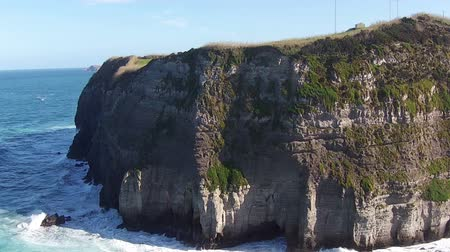 cliff : Flying over the High Cliffs and Ocean Waves, Sao-Miguel Azores