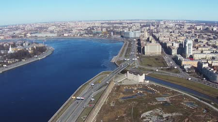 neva river : Flying near of River Neva in Center Saint-Petersburg, aerial view Stock Footage