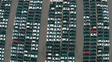 множество : Flying Above Storage Parking Lot of New Unsold Cars, aerial view