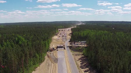 asphalt road : Aerial View of Road Construction, sunny day Stock Footage