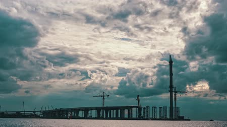 mosty : Dramatic Clouds over a Bridge Under Construction, timelapse