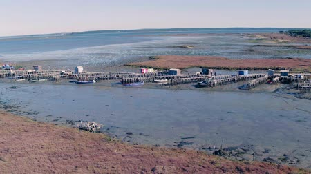 sado : Aerial View of Old Fisherman Piers on the Sado Marshlands, Portugal