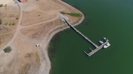 Aerial View of Pier on Lake Albufeira do Alqueva, Portugal
