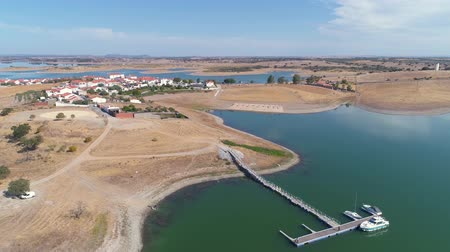 Aerial View of Village on Lake Albufeira do Alqueva, Portugal