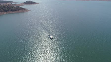 Aerial View of Boat on Lake, Portugal