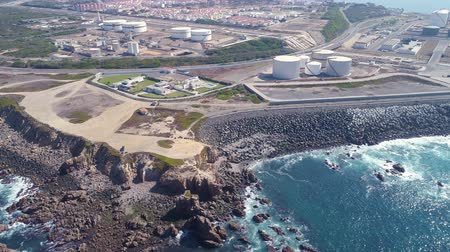 Aerial view of Oil Storage Terminal, Sines Portugal Dostupné videozáznamy