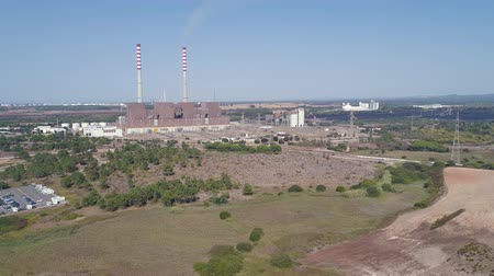 Aerial view of Coal-Fired Power Plant, Sines Portugal Dostupné videozáznamy