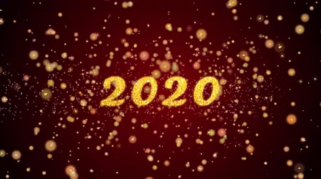 memory : 2020 Greeting Card text with sparkling particles shiny background for Celebration,wishes,Events,Message,Holidays,Festival. Stock Footage