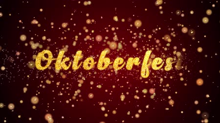Октоберфест : Oktoberfest Greeting Card text with sparkling particles shiny background for Celebration,wishes,Events,Message,Holidays,Festival.
