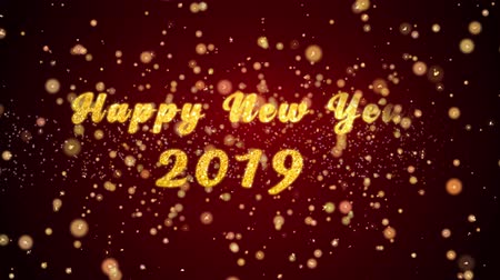 открытка : Happy New Year 2019 Greeting Card text with sparkling particles shiny background for Celebration,wishes,Events,Message,Holidays,Festival. Стоковые видеозаписи