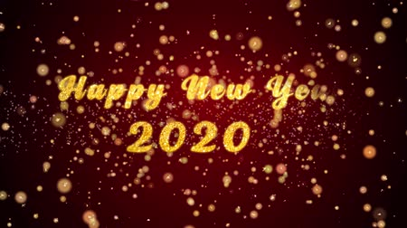 fireworks : Happy New Year 2020 Greeting Card text with sparkling particles shiny background for Celebration,wishes,Events,Message,Holidays,Festival. Stock Footage