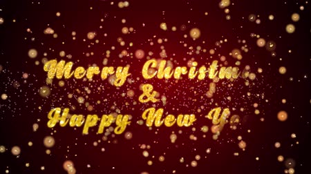 you win : Merry Christmas & Happy New Year Greeting Card text with sparkling particles shiny background for Celebration,wishes,Events,Message,Holidays,Festival. Stock Footage