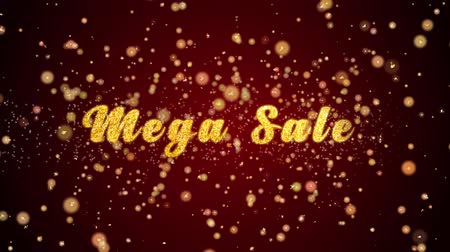 mega : Mega Sale Greeting Card text with sparkling particles shiny background for Celebration,wishes,Events,Message,Holidays,Festival. Stock Footage