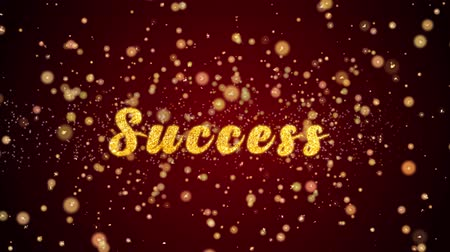 diótörő : Success Greeting Card text with sparkling particles shiny background for Celebration,wishes,Events,Message,Holidays,Festival. Stock mozgókép