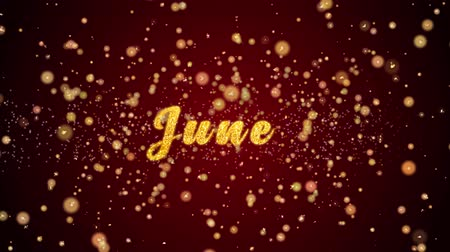haziran : June Greeting Card text with sparkling particles shiny background for Celebration,wishes,Events,Message,Holidays,Festival. Stok Video