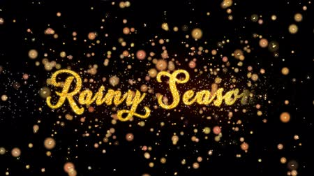 monção : Rainy Season Abstract particles and fireworks greeting card text with shiny black background for festivals,events,holidays,party,celebration.