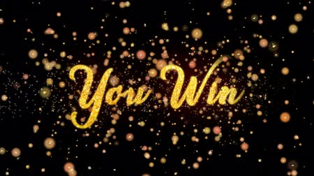 to you : You Win Abstract particles and fireworks greeting card text with shiny black background for festivals,events,holidays,party,celebration.