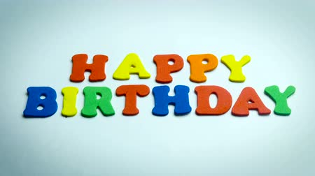 tebrik kartı : Letters Happy Birthday in White Background